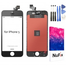 NuFix LCD Replacement for Apple iPhone 5 5G Screen Glass LCD Display Touch Digitizer assembly with Frame and Tools