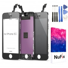 NuFix LCD Replacement for Apple iphone 5c Screen Glass LCD Display Touch Digitizer assembly with Frame and Tools