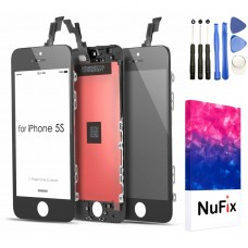 NuFix LCD Replacement for Apple iphone 5S / 5SE Screen Glass LCD Display Touch Digitizer assembly with Frame and Tools
