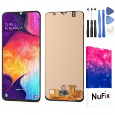 NuFix LCD screen Replacement for Samsung Galaxy A50 Glass LCD Display Touch Digitizer assembly with adhesive and Tools A50 A505 A505W A505U A505DS A505F A505G Black