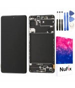 NuFix LCD screen Replacement for Samsung Galaxy A71 Glass LCD Display Touch Digitizer assembly with Frame and Tools A71 A715 A715W A715U A715DS A715F A715G Black