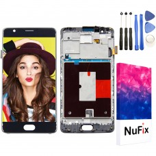 NuFix LCD Replacement for OnePlus 3 / 3T with Frame Screen Glass LCD Display Touch Digitizer assembly with Tools A3000 A3003 A3010 Black